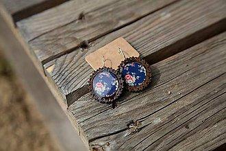 Náušnice - Naušky živicové-drevené modré - 10656434_