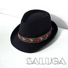 Čiapky - Čierny klobúk - folklórny klobúk - 10657274_