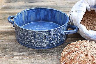 Nádoby - Forma na pečenie chleba - FOLK modrá okrúhla - 10656312_