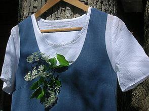 Sukne - Ľanová šatová sukňa - v modrom :) - 10656665_