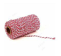 Galantéria - MO101 Motúzik farebný bavlnený 2 mm (Červená) - 10657823_