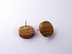 Náušnice - Náušnice drevené kolieska - napichovacie - 10657524_