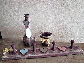 Dekorácie - Dekoračný set pastel hearts(vešiak, vázička, svietnik) - 10656781_