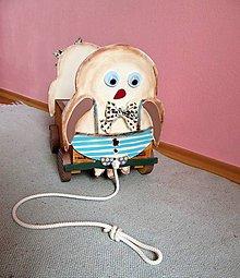 Hračky - Ťahací vozíček sovičky dvojičky - 10656873_
