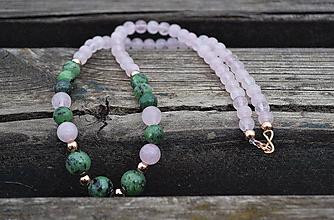 Náhrdelníky - Rubín v zoisite , ruženín náhrdelník Ag - 10656137_