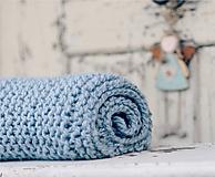 Textil - Vlněná dečka pro miminko zelenomodrá - 10656622_