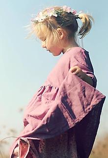 Detské oblečenie - Lněné šatičky La Rose - 10656597_