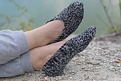Obuv - papučky-balerínky čiernošedé (v.39-40) - 10657241_