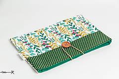 Papiernictvo - Obal na knihu - zelené lístky - 10656658_