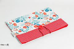Papiernictvo - Obal na knihu - kvetinový v červenom - 10656719_