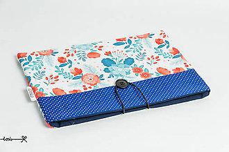 Papiernictvo - Obal na knihu - kvetinový v modrom - 10656715_