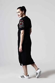 Šaty - Teplákové šaty s vyšívanými rukávmi - 10659435_