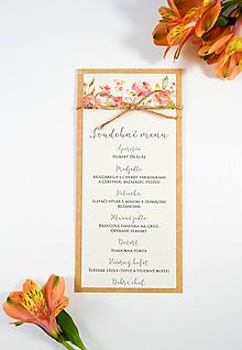 Papiernictvo - Svadobné menu Belle so špagátikom - 10658484_