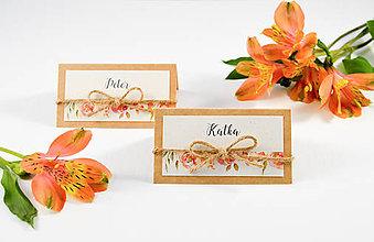 Papiernictvo - Svadobné menovky Belle so špagátikom - 10658486_
