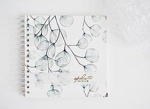 Papiernictvo - Svadobná kniha hostí/album - Eukalyptus 20x20 - 10659800_