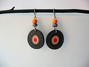 Náušnice - ,,Kolieska s oranžovou,, - 10659598_
