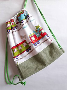 Detské tašky - Vrecúško na prezuvky - vak- ruksak- pre deti (Zelená) - 10658717_