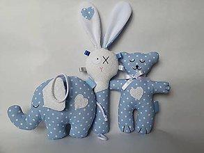 Hračky - Macko, slon, hrkálka set pre bábätká (Modrá) - 10658746_