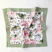 Úžitkový textil - bavlnený obrus motýle a ruže (70/70) - 10659923_