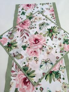 Úžitkový textil - bavlnený obrus motýle a ruže (40/40) - 10659926_