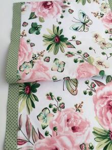 Úžitkový textil - bavlnený obrus motýle a ruže (40/140) - 10659931_