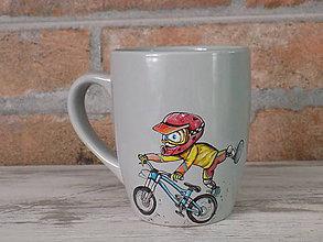 Nádoby - Sivý hrnček Downhill Rider - 10659151_