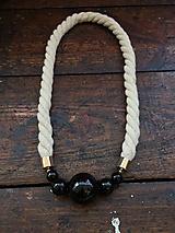 Náhrdelníky - Černé korále na přírodním laně - 10659855_