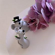 Dekorácie - Svadobné myšky - figúrky na svadobnú tortu - 10659699_