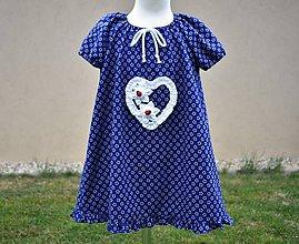Detské oblečenie - Šaty z modrotlače «lienky» - 10658804_