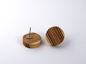Náušnice - Náušnice drevené kolieska - napichovacie - 10659203_