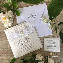 Papiernictvo - Svadobné oznámenie ~Čipka Perla Kocka~ - 10658833_
