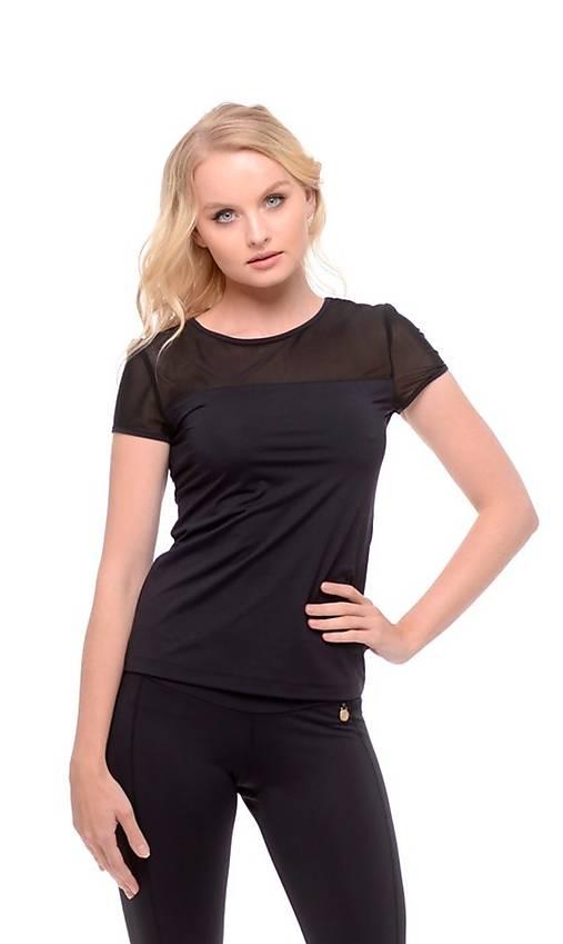 Tričko s krátkym rukávom so sieťkou čierne