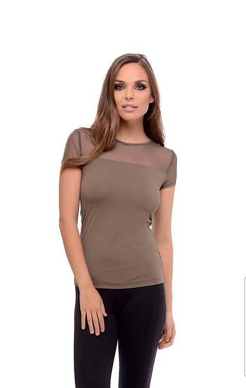 Tričko s krátkym rukávom so sieťkou hnedá khaki