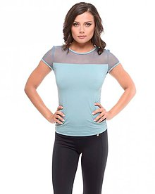 Tričká - Tričko s krátkym rukávom so sieťkou modré - 10658168_