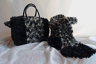 Kabelky - Dámska čierna háčkovaná kabelka + šál, retro štýl, priadza - umelá kožušina - 10659388_