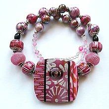 Náhrdelníky - Ružový náhrdelník - 10658422_