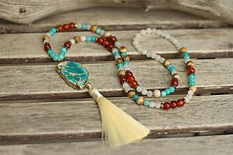 Náhrdelníky - Mala náhrdelník s regalitom a minerálmi karneol, jadeit, jaspis - 10659324_