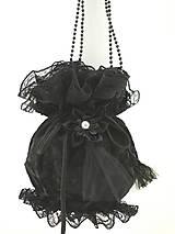 čierná gothická kabelka pompadúrka čierná zamatová 12