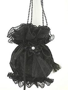 Kabelky - čierná gothická kabelka pompadúrka čierná zamatová 12 (Šedá) - 10662361_