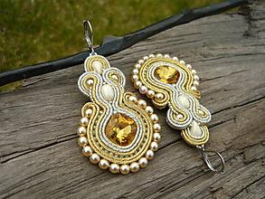 Náušnice - Soutache náušnice Elegant Gold & Ivory Silver - 10661630_