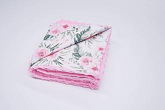 Textil - Minky deka ružová + ruže 70*100cm - 10663171_
