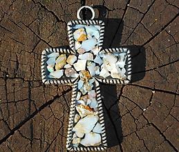 Dekorácie - cross with opals - 10664042_