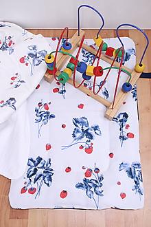 Detské doplnky - Akvarelová multifunkčná podložka pre deti - Jahody - 10662910_
