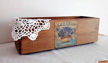 Nábytok - drevená bednička s motívom levandule - 10660836_