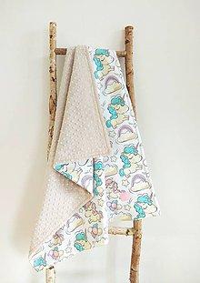 Textil - Detská deka  (Rozprávkový jednorožec + latte minky) - 10664374_