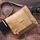 Tašky - Sam - pánska kožená taška (Oriešková) - 10660489_