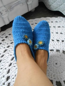Obuv - Papuče v modrom - 10660808_