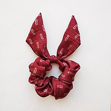 Ozdoby do vlasov - Recy-scrunchie bordovo-červená - 10661072_