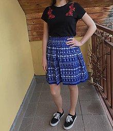 Sukne - Sukňa krátka modrá čičmanský vzor - 10663918_