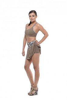 Sukne - Tenisová sukňa hnedá khaki - 10660556_